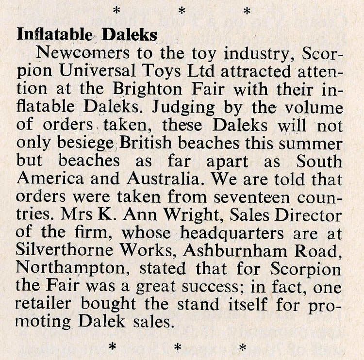 Games and Toys, April 1965, article about the release of Inflatable Daleks from Scorpion Universal Toys Ltd.