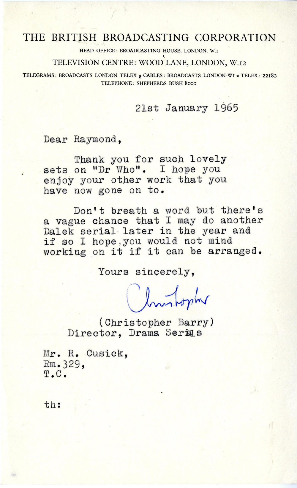 Letter to Raymond Cusick from Christopher Barry dated January 21, 1965 (from the Raymond Cusick personal collection)
