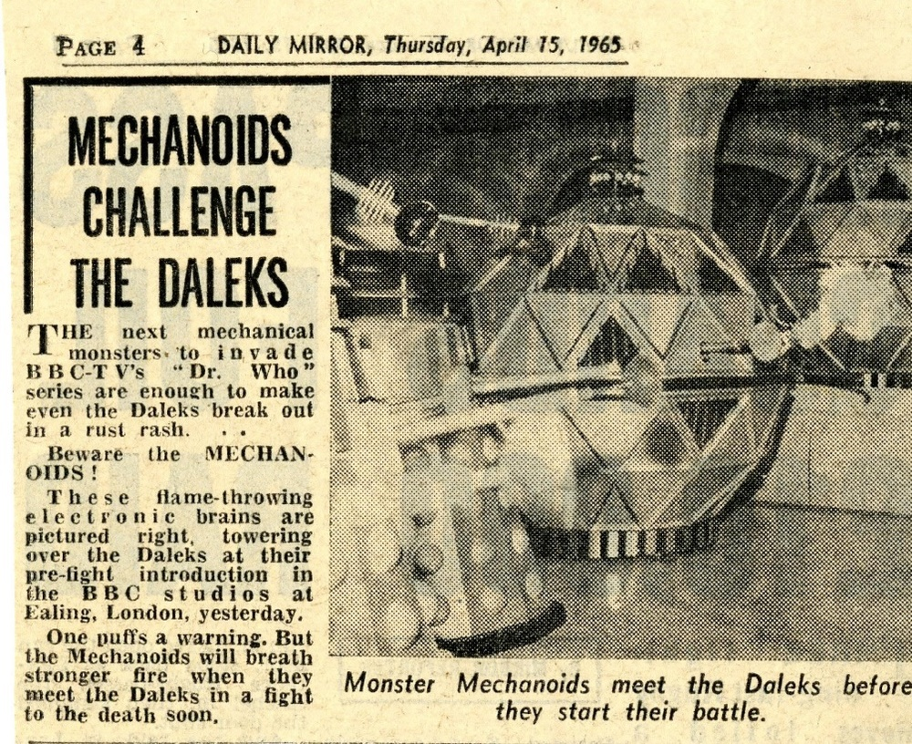 Daily Mirror, April 15, 1965 (from the Raymond Cusick cuttings collection)