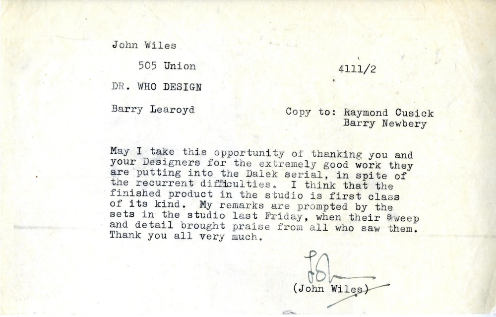 Memo from John Wiles to Raymond Cusick and Barry Newberry (from the Raymond Cusick personal collection)