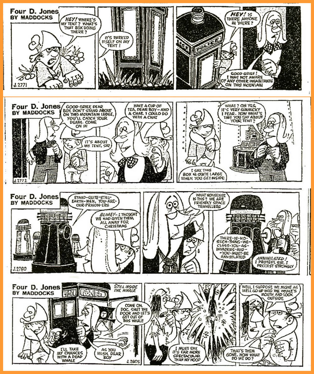 "WANTED - Daily Express, ""Four D. Jones"" strip with Doctor Who spoof (from top 1st appearance February 13; 2nd appearance February 15; 1st ""Dalek"" appearance February 24; final appearance March 25)"