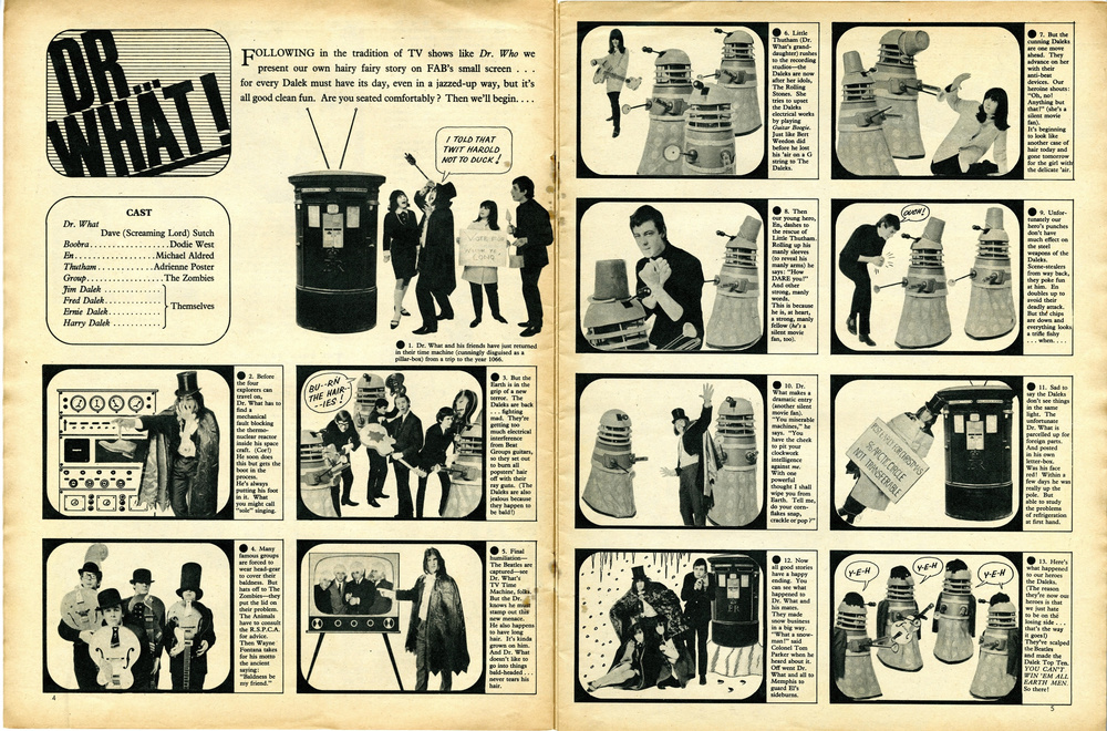 Fabulous, March 6, 1965; Doctor Who spoof using Scorpion Automotives' Dalek playsuit