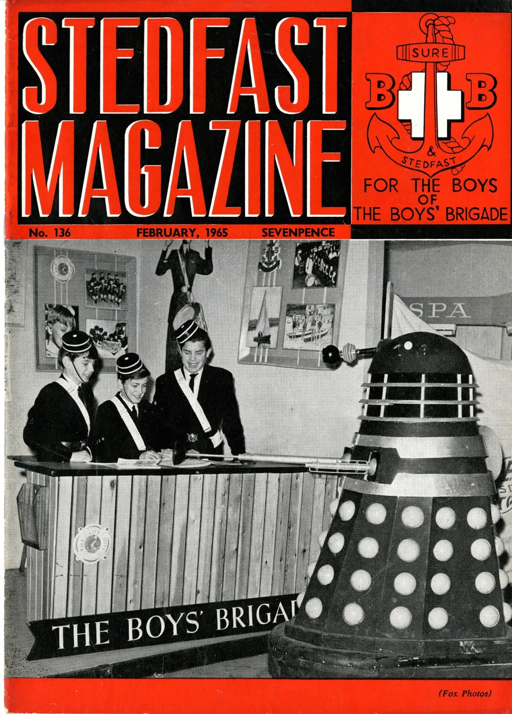 Stedfast Magazine, (the Boys' Brigade magazine), February 1965 with cover featuring a Dalek from the Daily Mail Schoolboys and Girls Exhibition