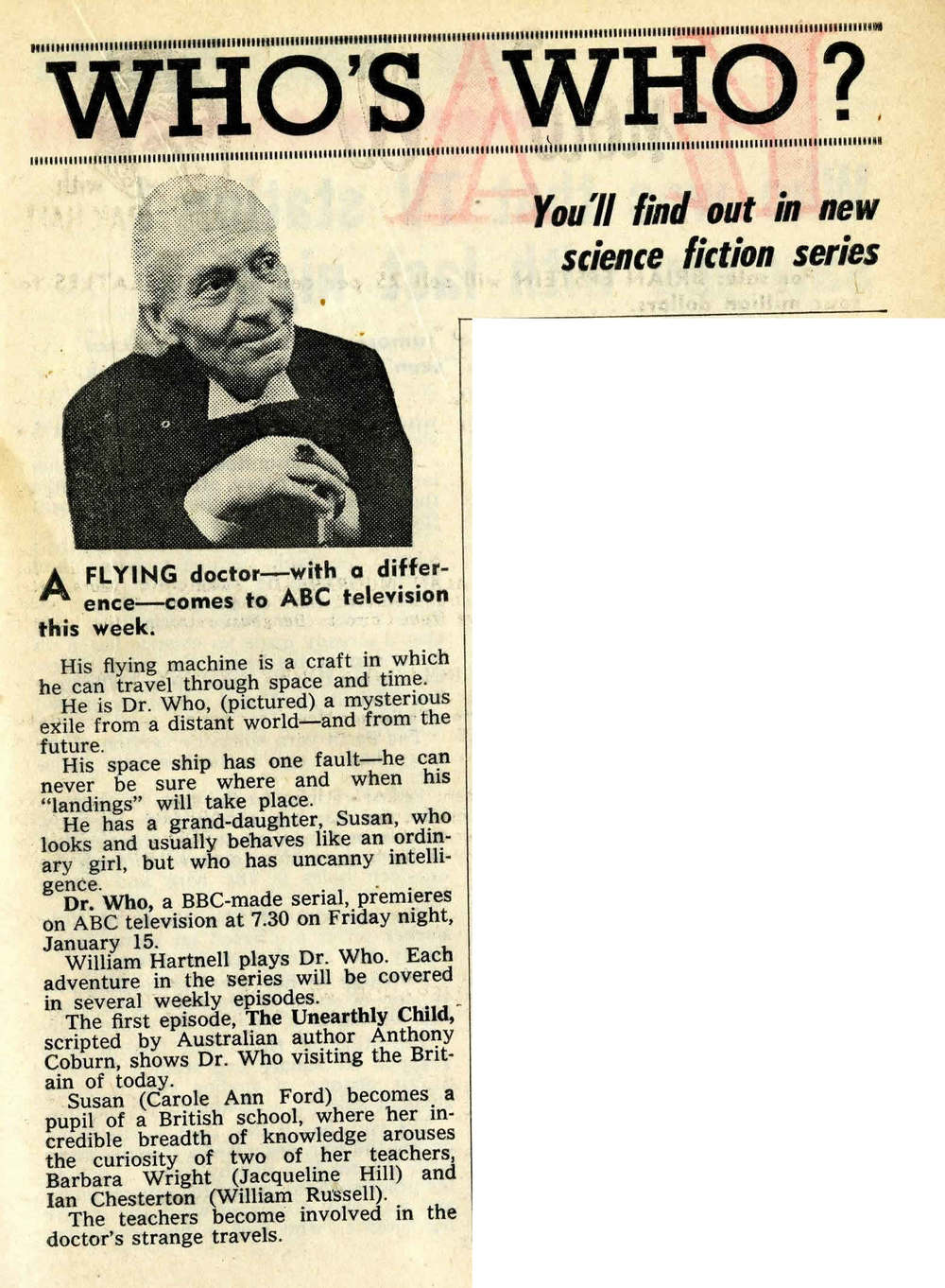 TV Week (Australia), January 9, 1965 previewing first Australian broadcast on ABC-TV, January 15, 1965