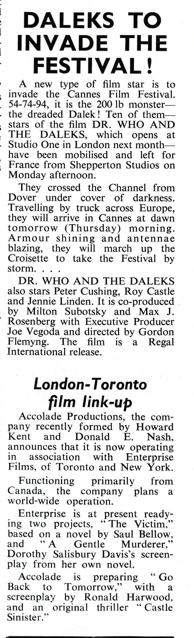 Daily Cinema, 19 May 1965