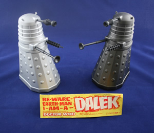 Black and grey versions of the Herts Moulders Ltd. plastic Daleks