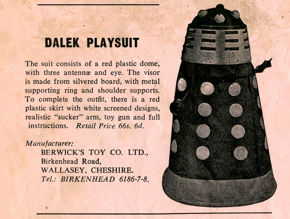 Ad. for the Berwick's Toy Company Dalek Playsuit from the Regal film campaign book Merchandise Supplement