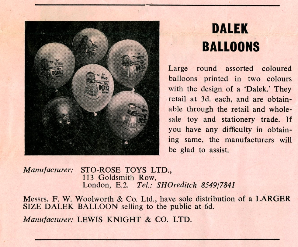 Ad. for Sto-Rose Dalek Ballons from the Regal film campaign book Merchandise Supplement