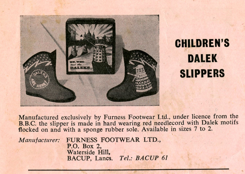 Ad. for the original Furness Footware Ltd. Dalek slippers with box, from the Regal film campaign book Merchandise Supplement