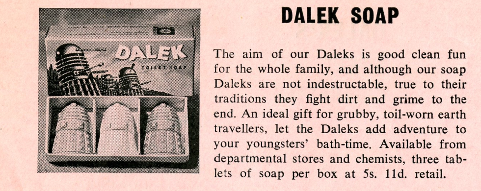 Ad. for the Scorpion Automotives' Dalek Soap from the Regal film campaign book Merchandise Supplement