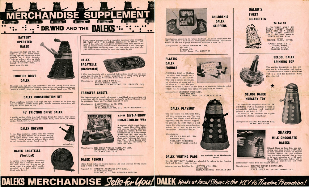 Merchandise Supplement from the Dr. Who and the Daleks Regal film campaign book (front and back cover)