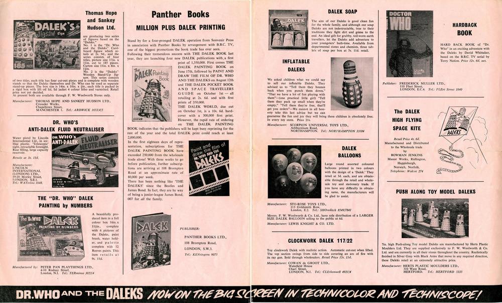 Merchandise Supplement from the Dr. Who and the Daleks Regal film campaign book (interior pages)