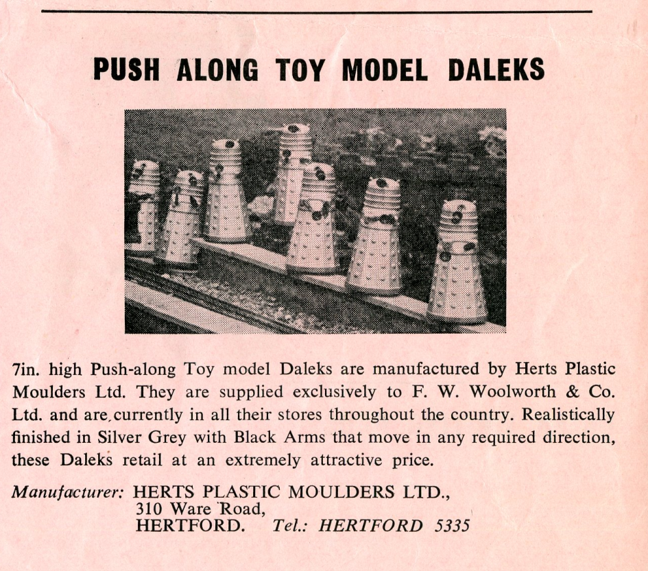 Ad. for the Herts Plastic Moulders, Ltd. push-along plastic Dalek from the Regal Films, Dr. Who and the Daleks Campaign Book Merchandise Supplement