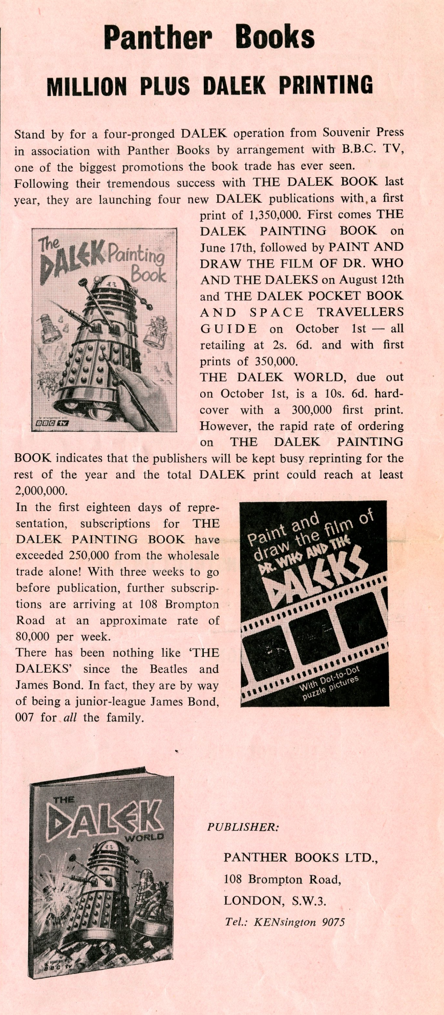 Ad. for the various Dalek publications from Panther Books from the Regal Films, Dr. Who and the Daleks Campaign Book Merchandise Supplement