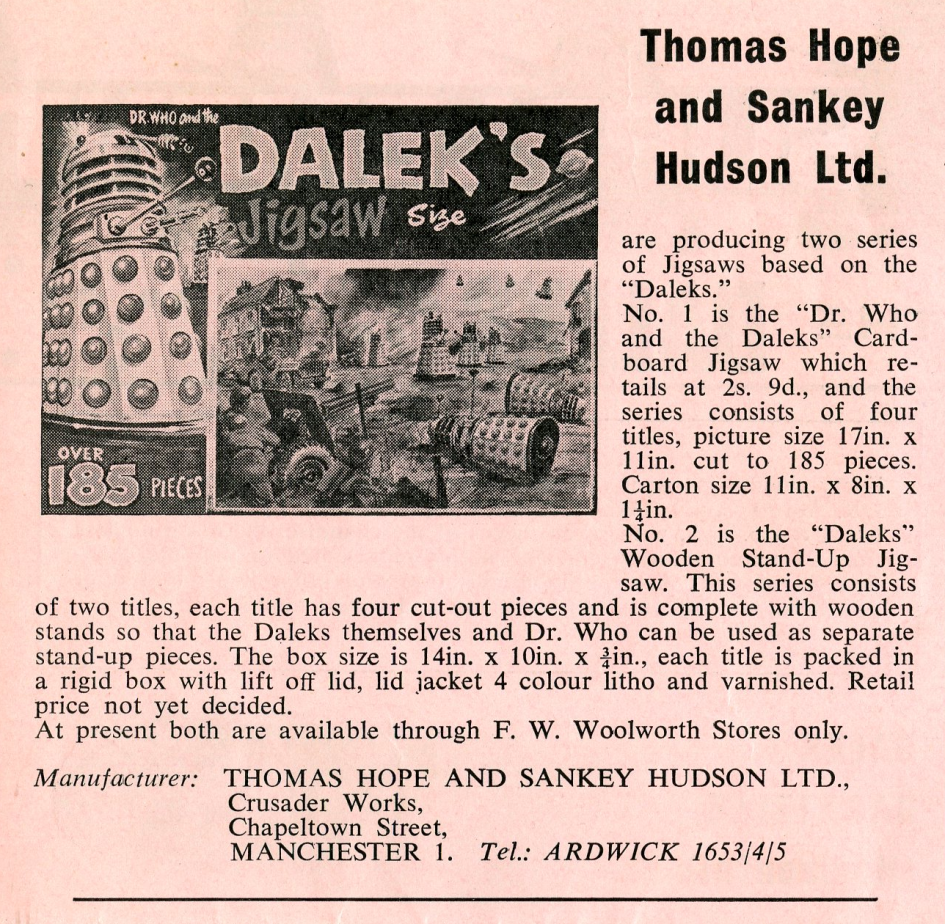 Ad. for Thomas Hope and Sankey Hudson Dalek jigsaws from the Regal Films Dr. Who and the Daleks Campaign Book Merchandise Supplement