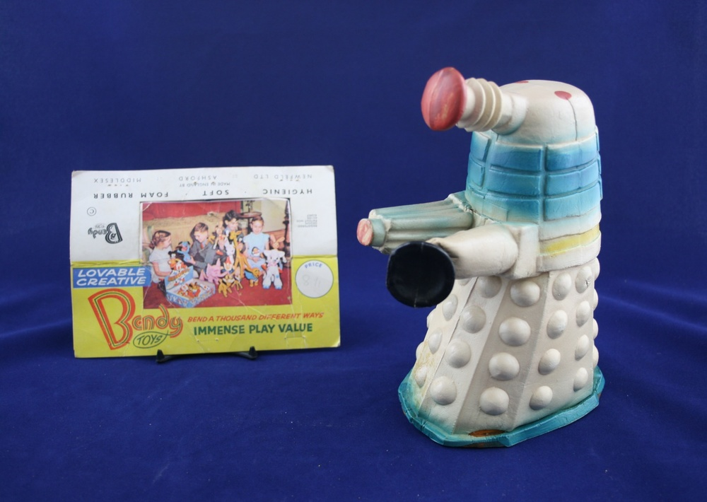 Foam rubber Dalek from the Newfeld Ltd., Bendy Toys range (header card is not original to the Dalek)