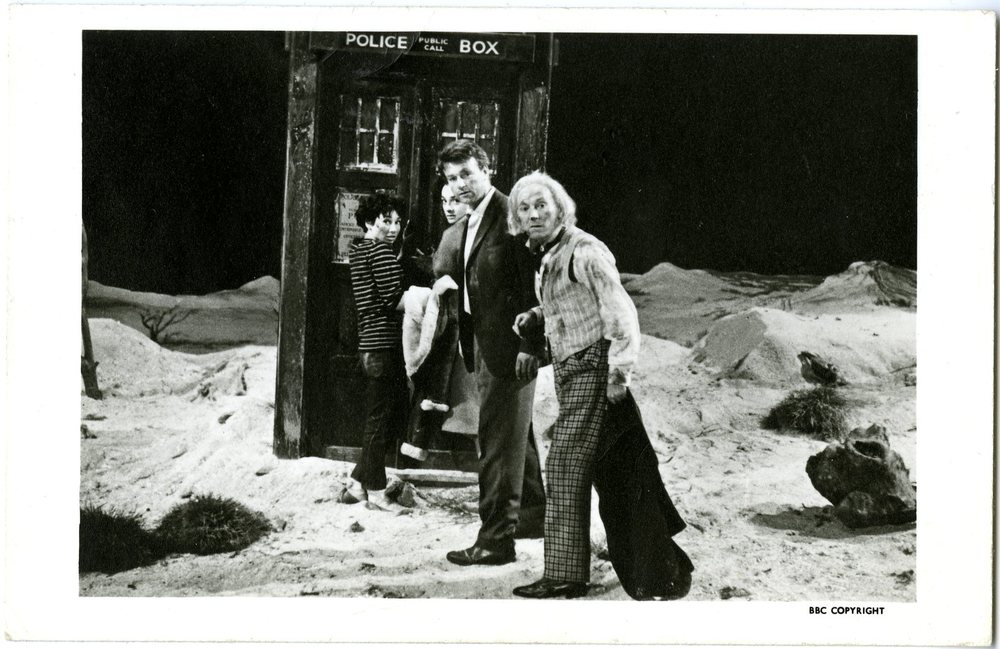 BBC Promotional Photo Card: The crew returns to the TARDIS in The Firemaker