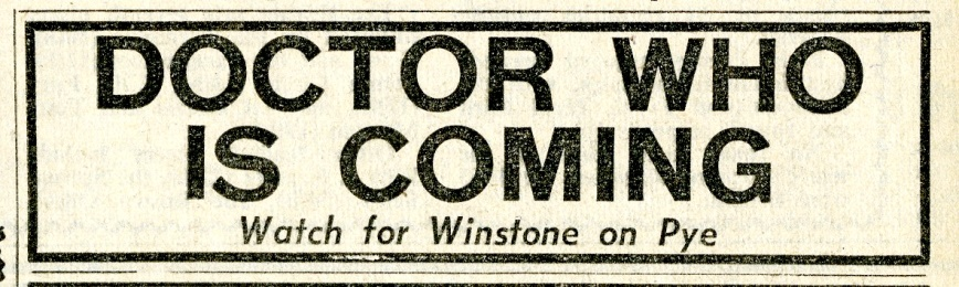 Dr. Who - Eric Winstone and His Orchestra, ad. in New Musical Express, 3 January 1964