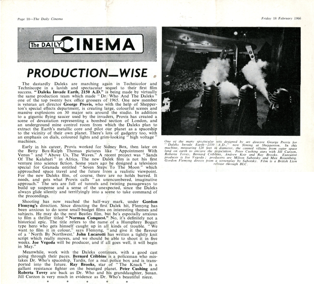 Daily Cinema, 18 February 1966