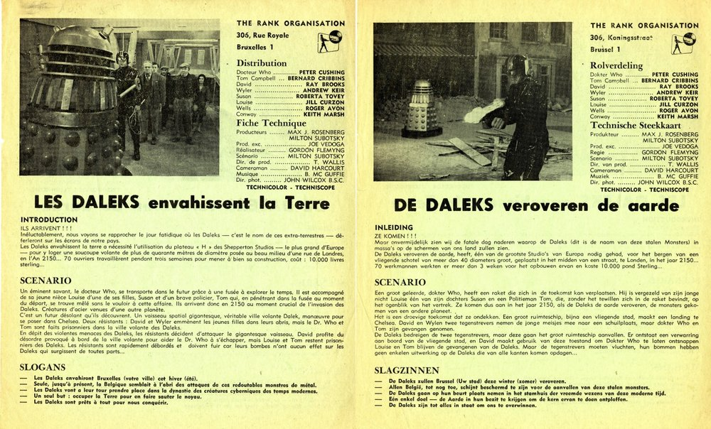 Belgian double-sided promotional flier in Dutch and French