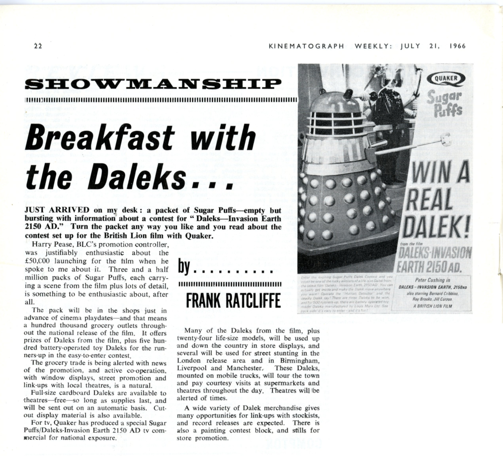 Sugar Puffs Win a Dalek promotion article in Kine Weekly, 21 July 1966