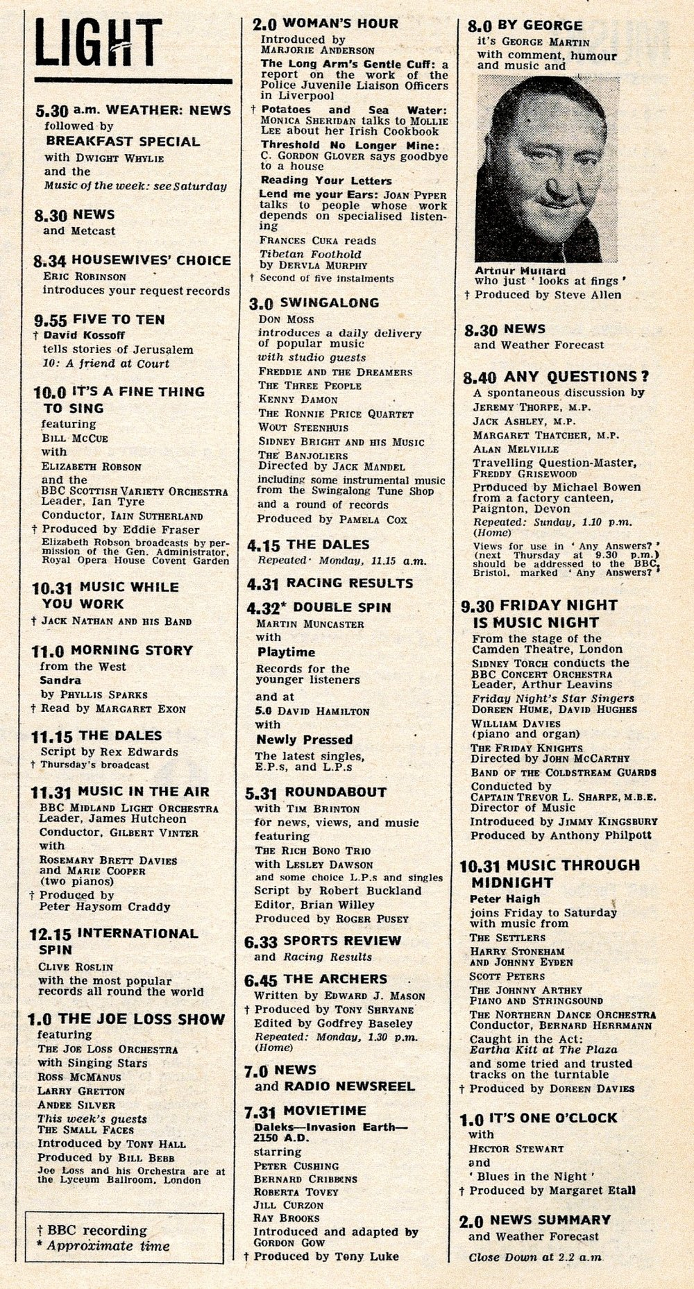Listing for Movietime: Daleks-Invasion Earth-2150 AD on the BBC Light Programme, Radio Times, 12-18 November 1966