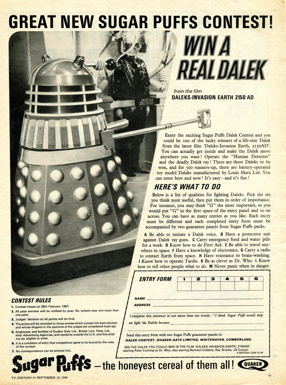 Sugar Puffs Win a Dalek competition ad in TV Century 21, no. 88, 24 September 1966