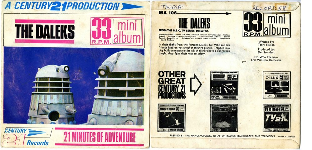 Century 21 Records, The Daleks 33 RPM Mini Album, pressed by Astor Records, Australia (cat. no. MA-106)