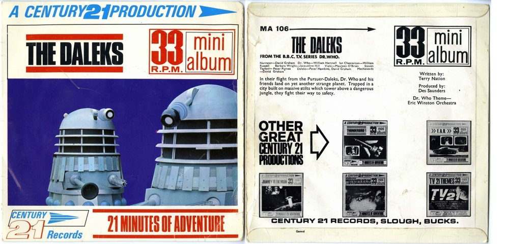 Century 21 Records, The Daleks 33 RPM Mini Album, copyright control Erle Music, (cat. no. MA.106)