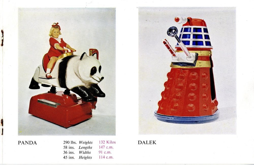 Edwin Hall & Company Coin-Operated Kiddy Rides catalogue showing mock-up of the Dalek Kiddy Ride