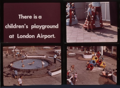 Slides from an advertising campaign for London Airport, showing an Edwin Hall Dalek Kiddy Ride in the children's playground