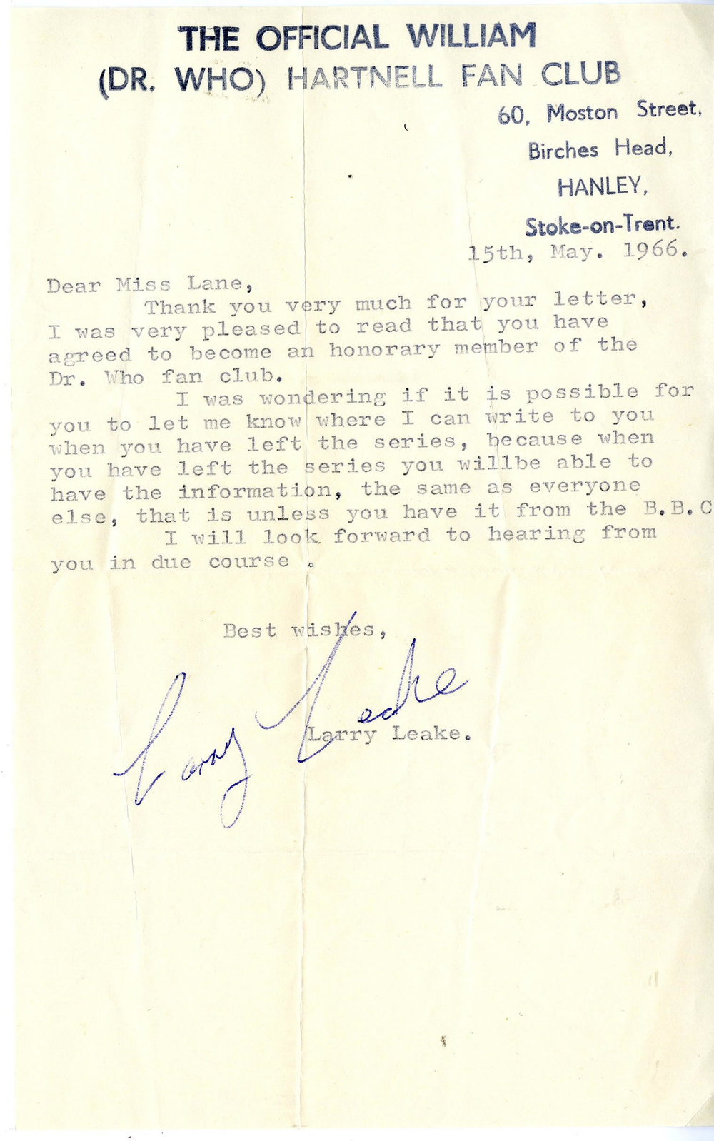 Letter from The Official William (Dr. Who) Hartnell Fan Club, dated 15 May 1966, to Jackie Lane (from the Jackie Lane archive)