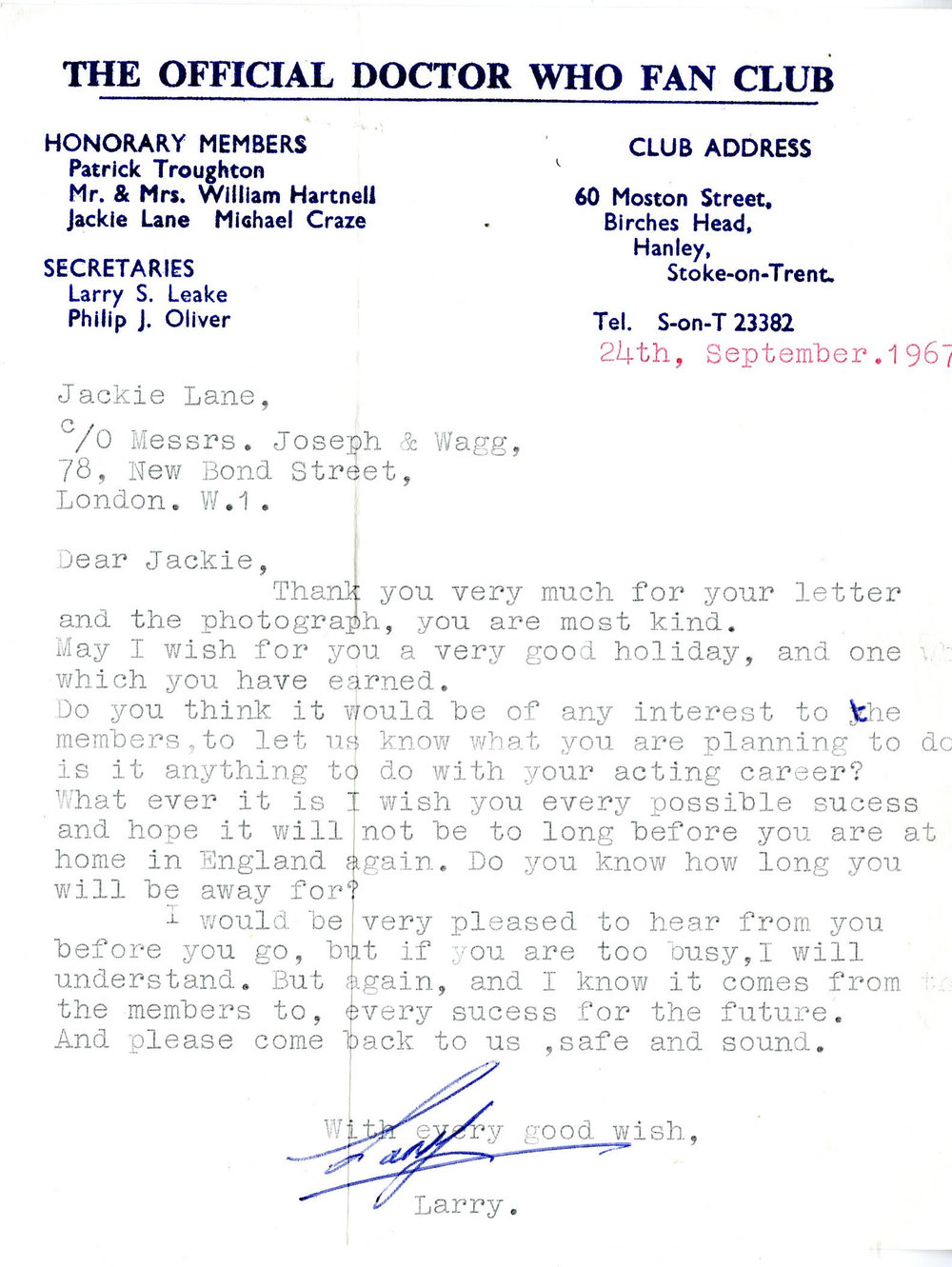 Letter from The Official Doctor Who Fan Club, dated 24 September 1967, to Jackie Lane (from the Jackie Lane archive)