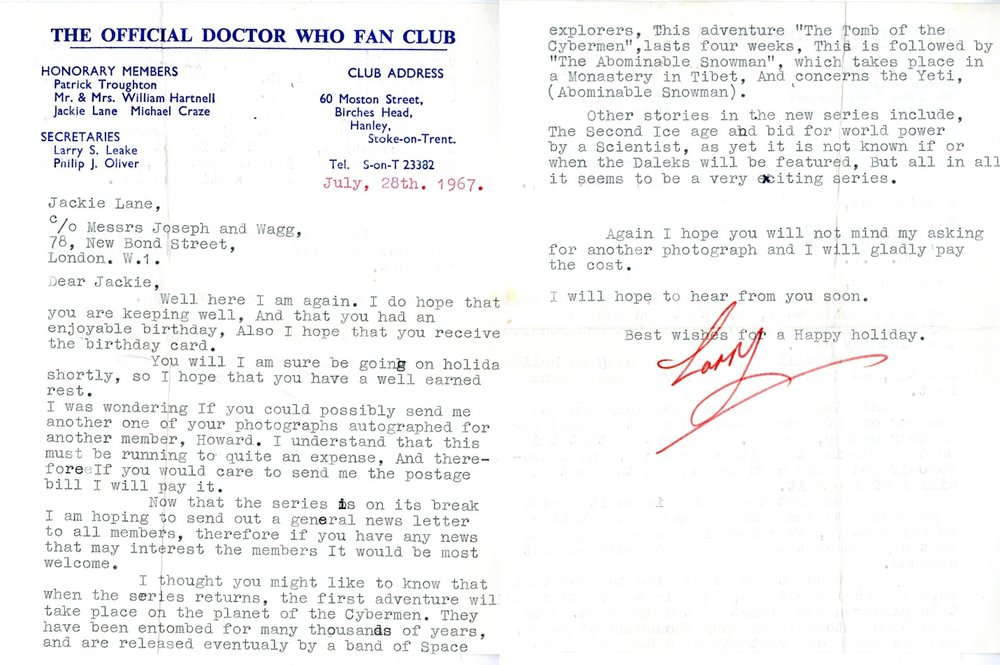 Letter from The Official Doctor Who Fan Club, dated 28 July 1967, to Jackie Lane (from the Jackie Lane archive)