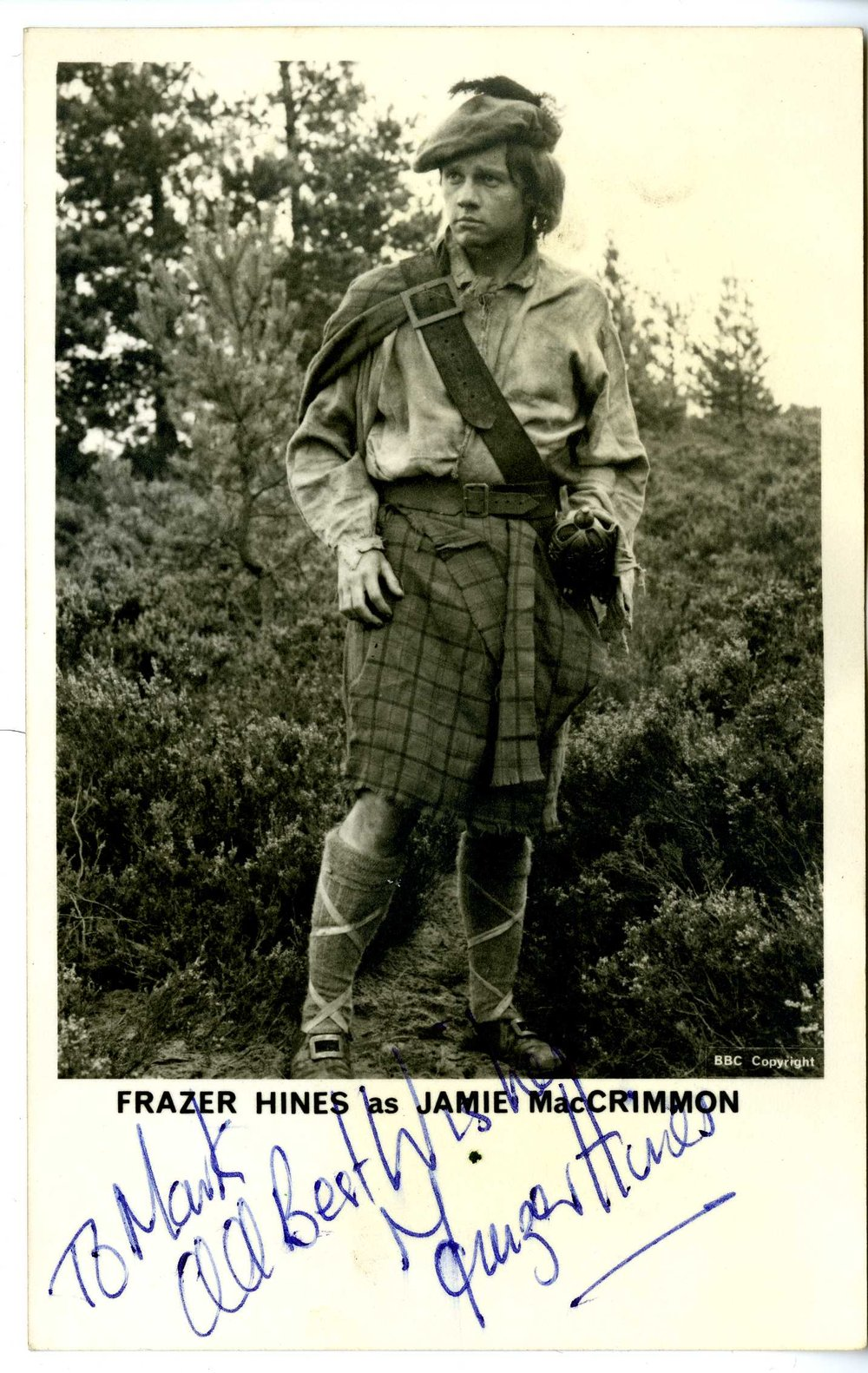 BBC Cast Card of Frazer Hines as Jamie McCrimmon