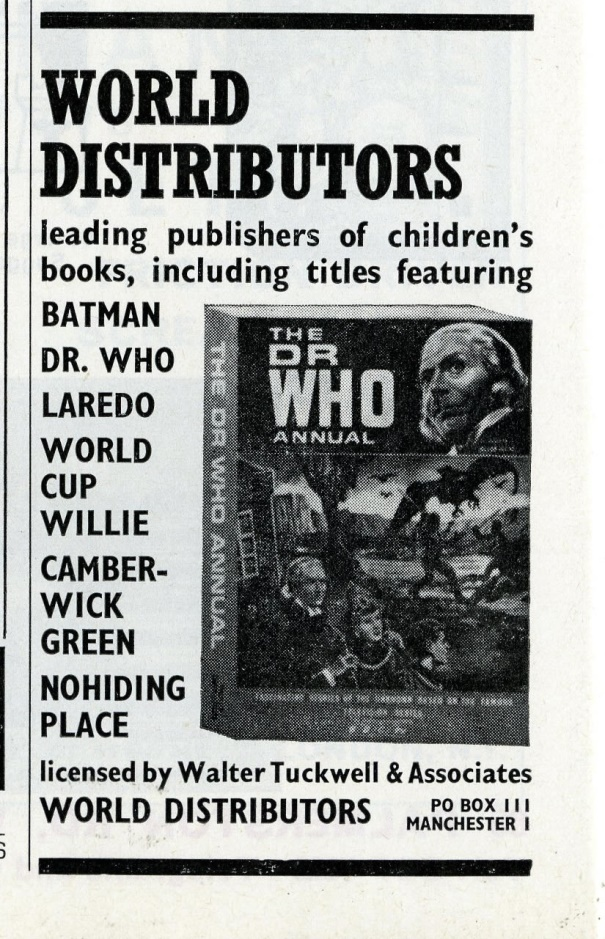Ad. for the World Distributors Dr. Who Annual in Games & Toys, September 1966