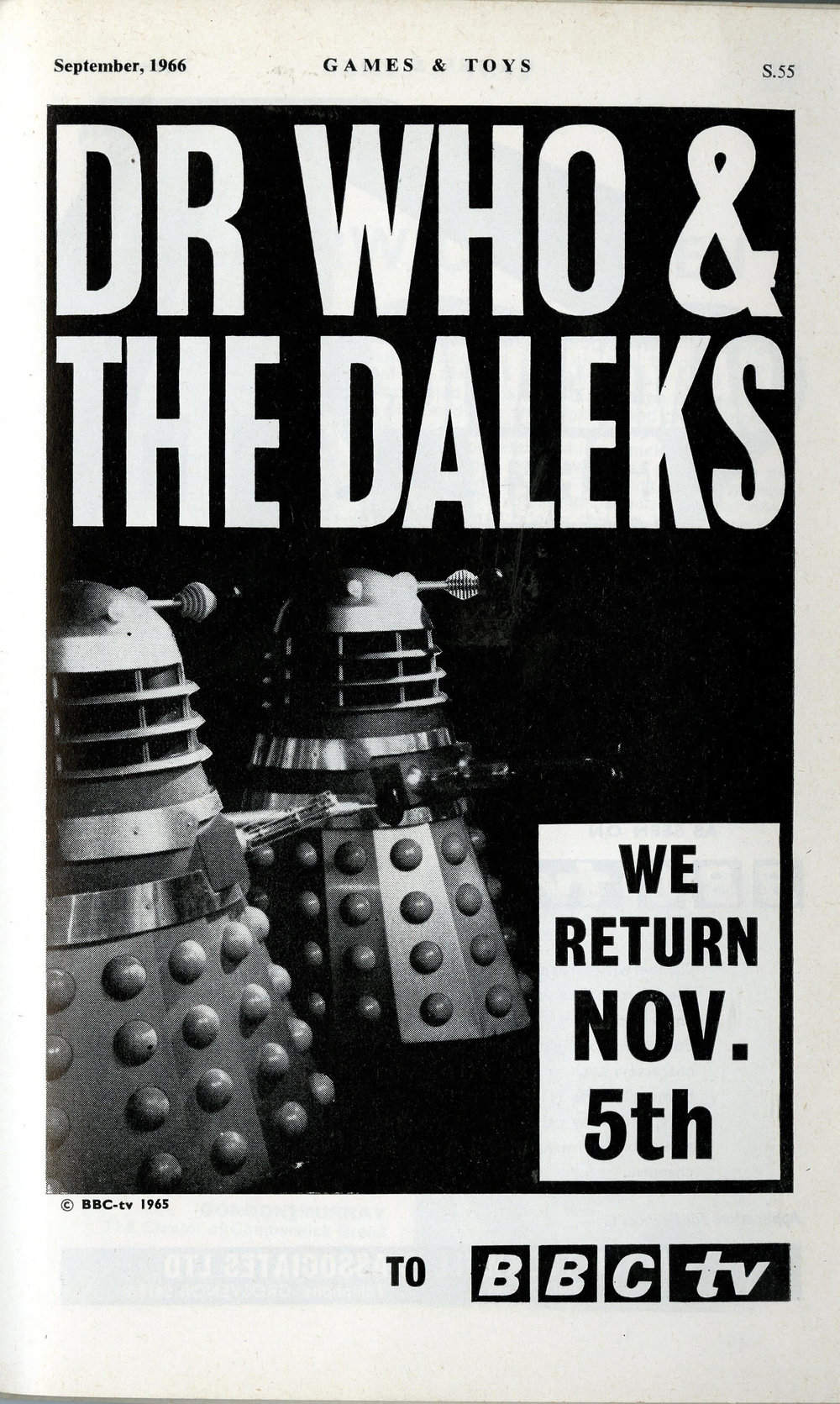 Ad. placed by Walter Tuckwell & Associates in Games & Toys, September 1966, showing the return of the Daleks in Power of the Daleks