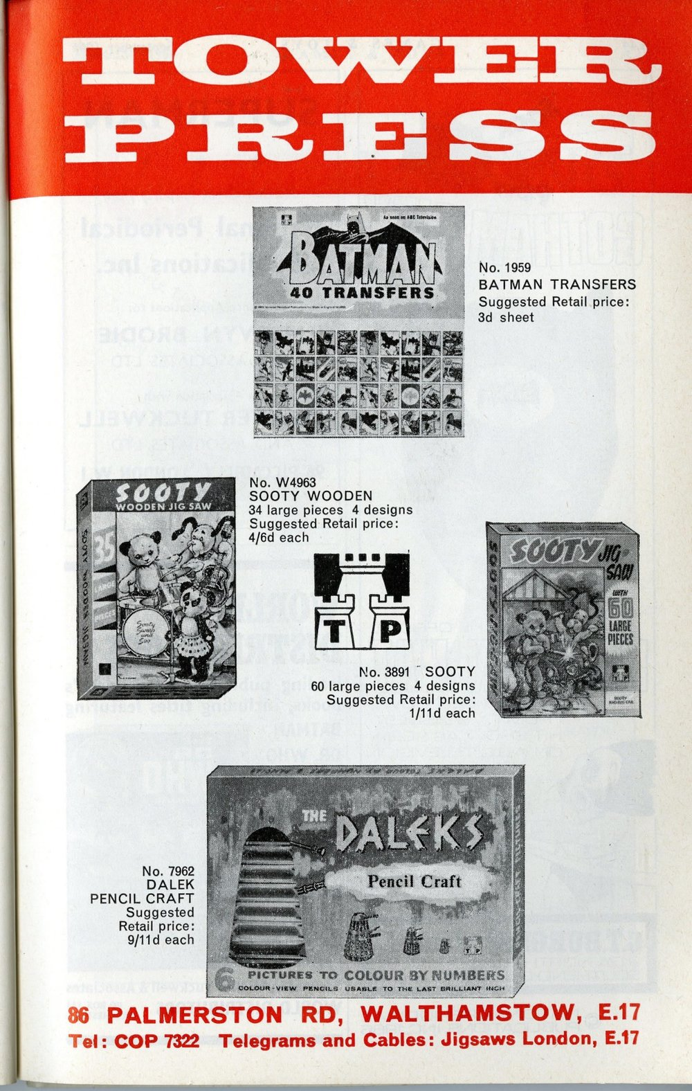 Ad. for the Tower Press Dalek Pencil Craft set in Games & Toys, September 1966