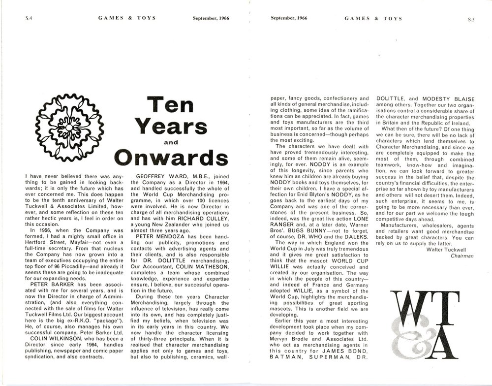 Article on Walter Tuckwell & Associates in Games & Toys, September 1966