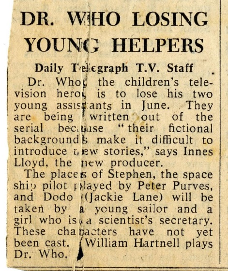 Article in the Daily Telegraph about the departure of Dodo and Steven, unknown date (from the Jackie Lane archive)