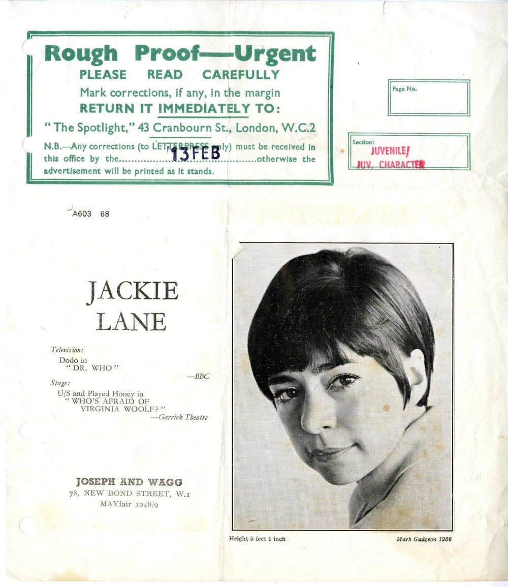 Jackie Lane's entry in Spotlight, the actors' directory, during her time as Dodo (from the Jackie Lane archive)
