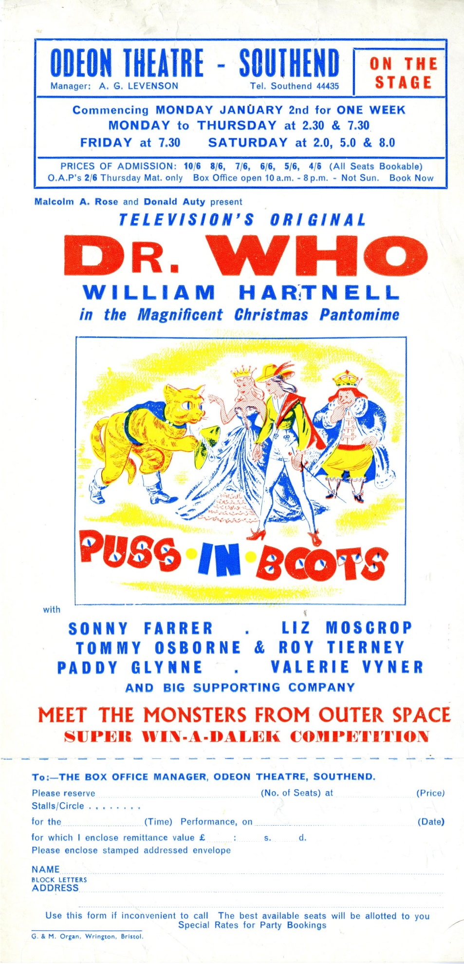 Handbill for the Pantomime, Puss in Boots, starring William Hartnell