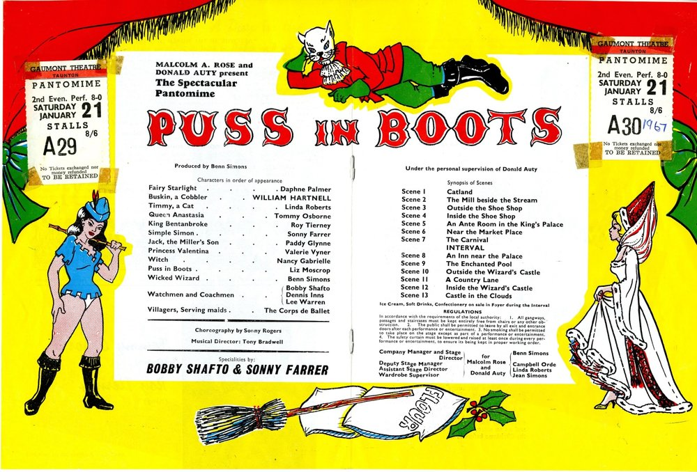 Puss in Boots starring William Hartnell, centre pages of programme showing two admission tickets