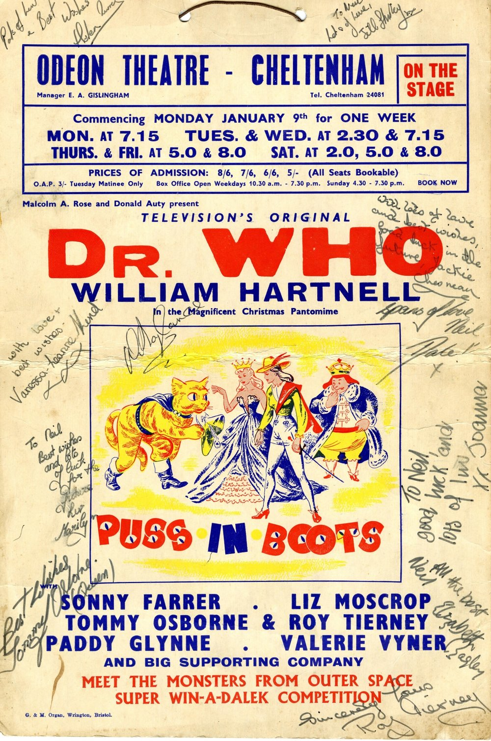 Playbill for the Puss in Boots pantomime signed by the cast (excluding William Hartnell)