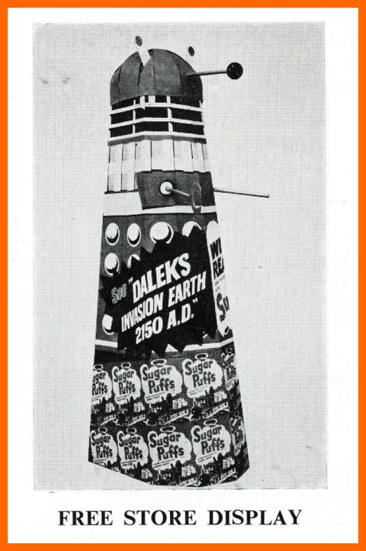 WANTED - Quaker Oats Sugar Puffs cinema or shop display (illustrated in a Daleks - Invasion Earth: 2150 film campaign book)