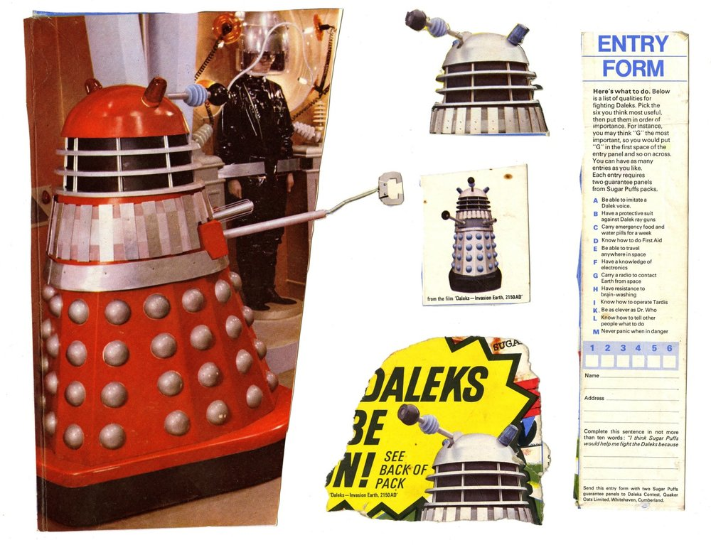 Parts of a Quaker Oats Sugar Puffs Win a Dalek competition box (complete box WANTED)