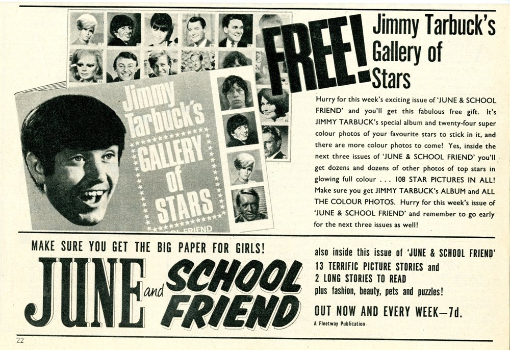 Ad in June & School Friend for the free Jimmy Tarbuck's Gallery of Stars sticker book