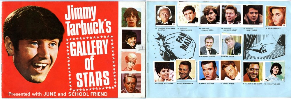 Jimmy Tarbuck's Gallery of Stars sticker book (showing William Hartnell sticker), presented free with June & School Friend