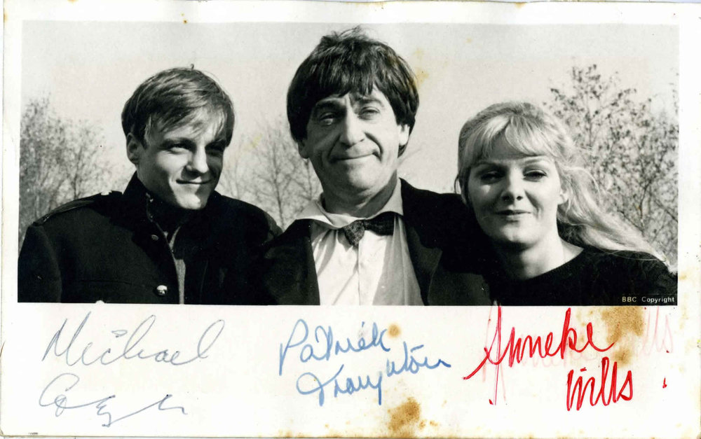 BBC Cast Card of Michael Craze, Patrick Troughton, and Anneke Wills, as Ben, the Doctor, and Polly