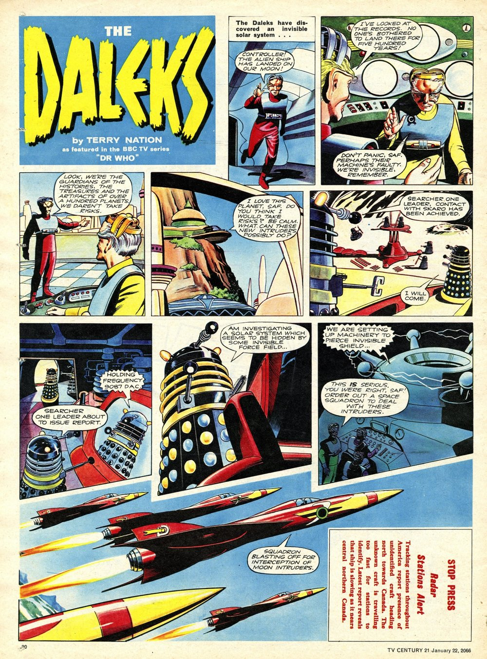 TV Century 21, no. 53, 22 January 2066 (1966), showing new masthead for the Dalek strip